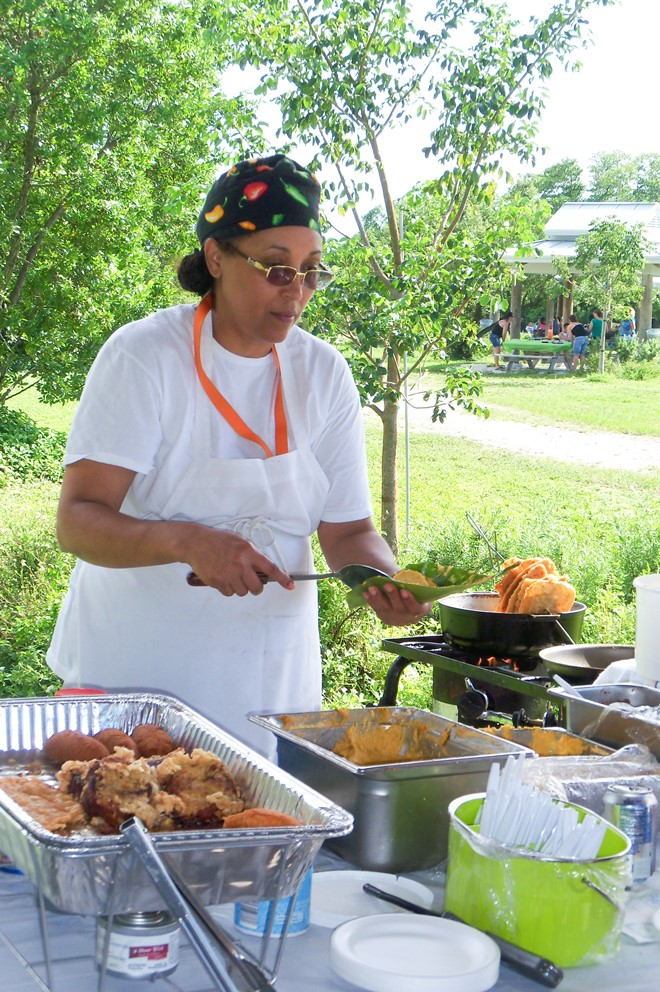 The Picnic cook is making alcapurrias, which are Puerto Rican fried fritters, stuffed with beef or pork.